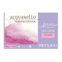 Fabriano Artistico Extra White, blocco collato 4 lati, 20 fogli, cm 30,5x45,5, grana satinata, 300gr/mq
