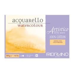 Fabriano Artistico Extra White, blocco collato 4 lati, 20 fogli, cm 30,5x45,5, grana fina, 300gr/mq