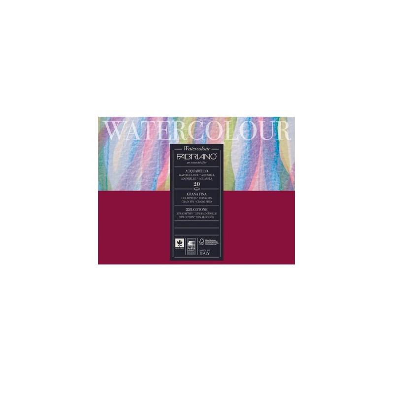 Fabriano Watercolour grana fina, blocco collato 4 lati, 20 fogli, cm 18x24, 200gr/mq