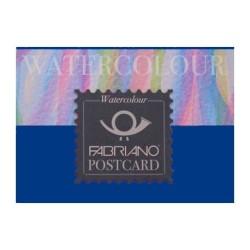 Fabriano Watercolour grana fina, blocco Postcard collato 1 lato, 20 fogli, cm 10,5x14,8, 300gr/mq