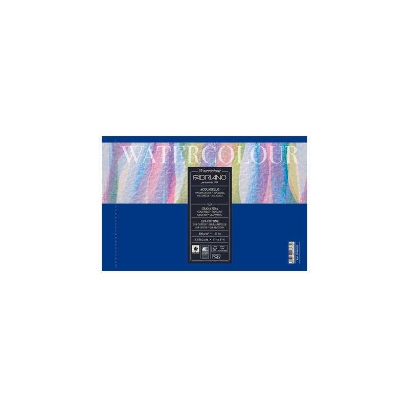 Fabriano Watercolour grana fina, blocco collato 1 lato, 12 fogli, cm 18x24, 300gr/mq