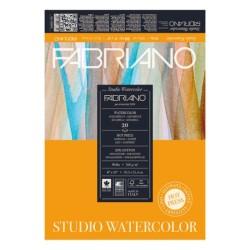 Fabriano Watercolor grana satinata, blocco collato 1 lato, 20 fogli, cm 20,3x25,4, 200gr/mq