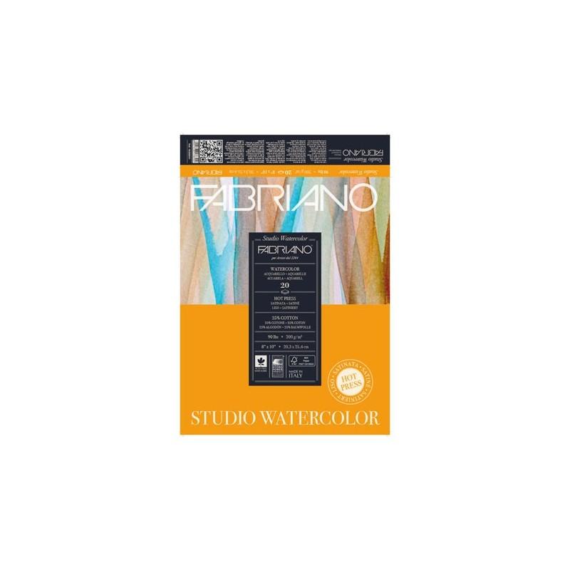 Fabriano Watercolor grana satinata, maxiblocco collato 1 lato, 75 fogli, cm 28x35,6, 200gr/mq