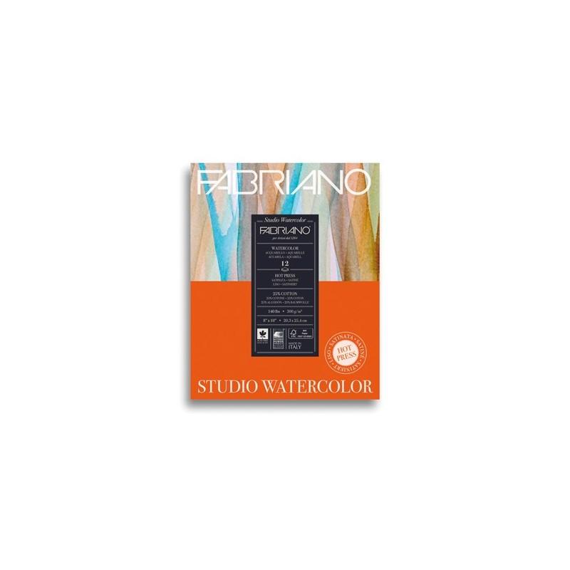 Fabriano Watercolor grana satinata, blocco collato 1 lato, 12 fogli, cm 20,3x25,4, 300 gr/mq