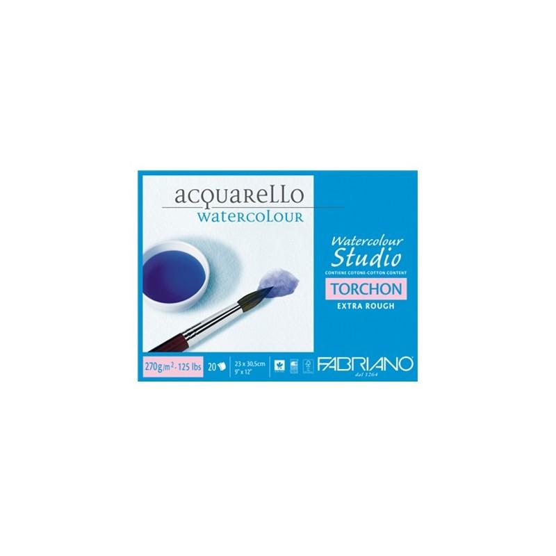 Fabriano Watercolour Torchon, blocco collato 4 lati, 20 fogli, cm 35,5x51, grana torchon, 270gr/mq