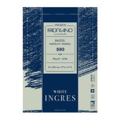 Fabriano Ingres, blocco spiralato da 100 fogli, cm 21x29,7, ingres bianco, 90gr/mq