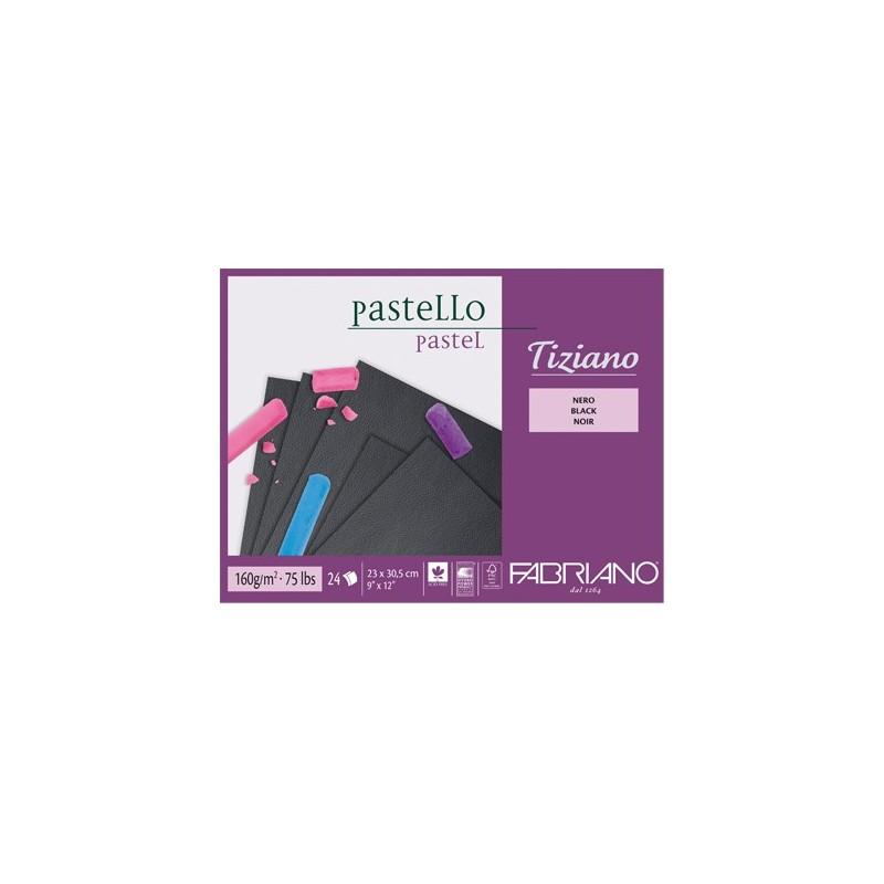 Fabriano Tiziano, blocco collato 1 lato, 24 fogli neri, cm 30,5x41, 160gr/mq