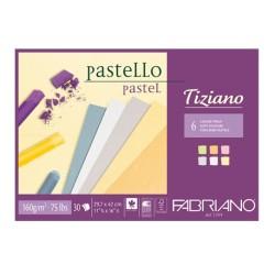 Fabriano Tiziano, blocco collato 1 lato, 30 fogli, colori tenui, cm 21x29,7, 160gr/mq