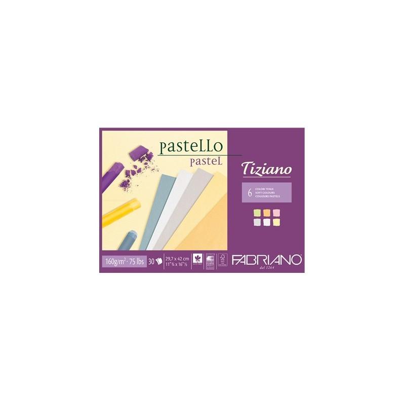 Fabriano Tiziano, blocco collato 1 lato, 30 fogli, colori tenui, cm 29,7x42, 160gr/mq