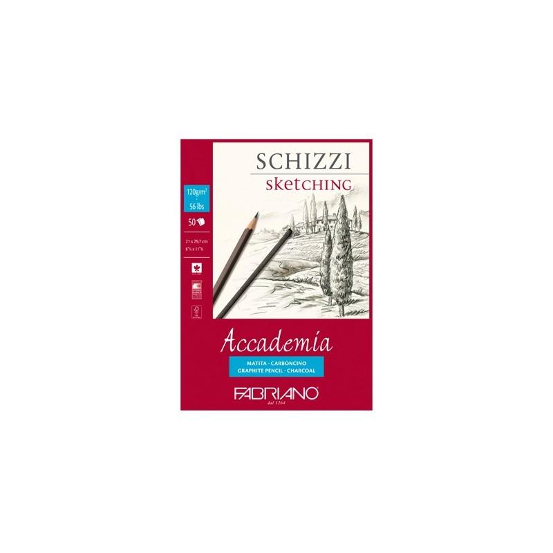 Fabriano Accademia, blocco collato 1 lato, 50 fogli, cm 21x29,7, grana naturale, 120gr/mq