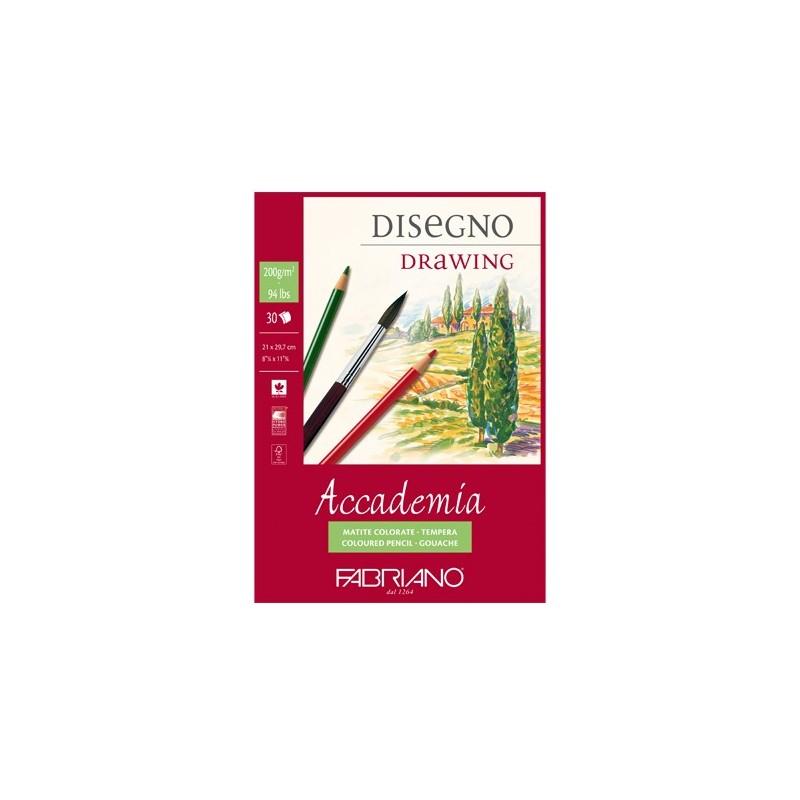 Fabriano Accademia, blocco collato 1 lato, 30 fogli, cm 29,7x42, grana naturale, 200gr/mq