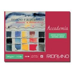 Fabriano Accademia, maxiblocco collato 1 lato, 100 fogli, cm 27x35, grana naturale, 240gr/mq