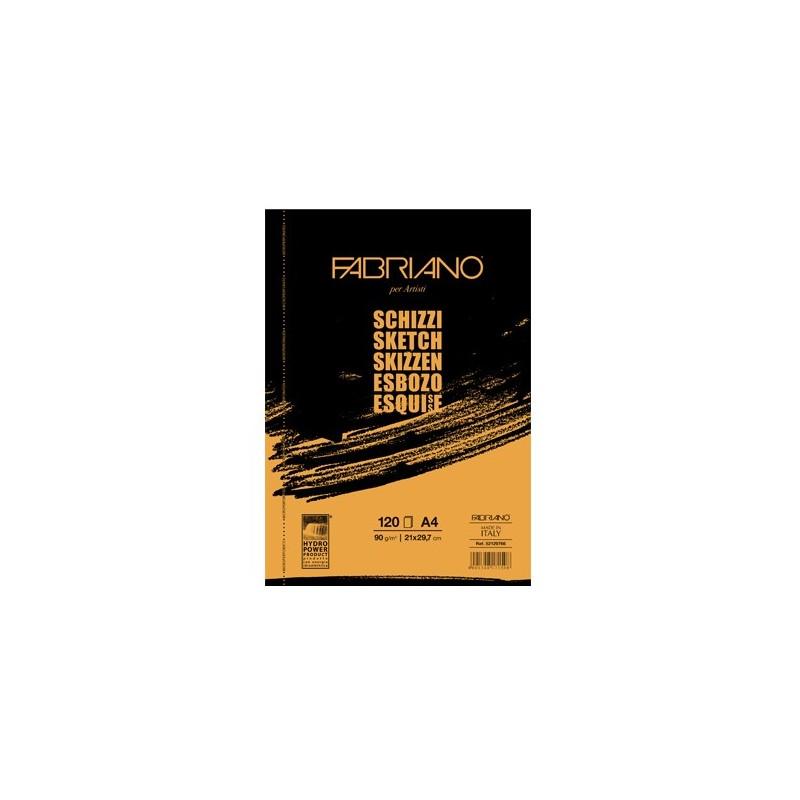 Fabriano Schizzi Artisti, blocco spiralato da 120 fogli, cm 21x29,7, grana naturale, 90gr/mq