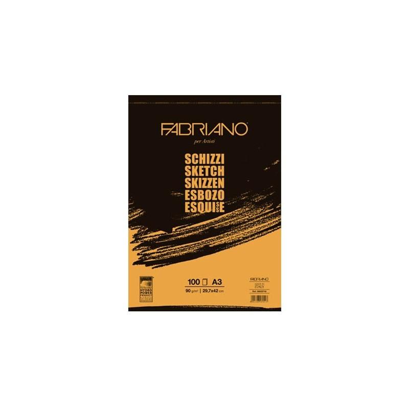 Fabriano Schizzi Artisti, blocco spiralato da 100 fogli, cm 29,7x42, grana naturale, 90gr/mq