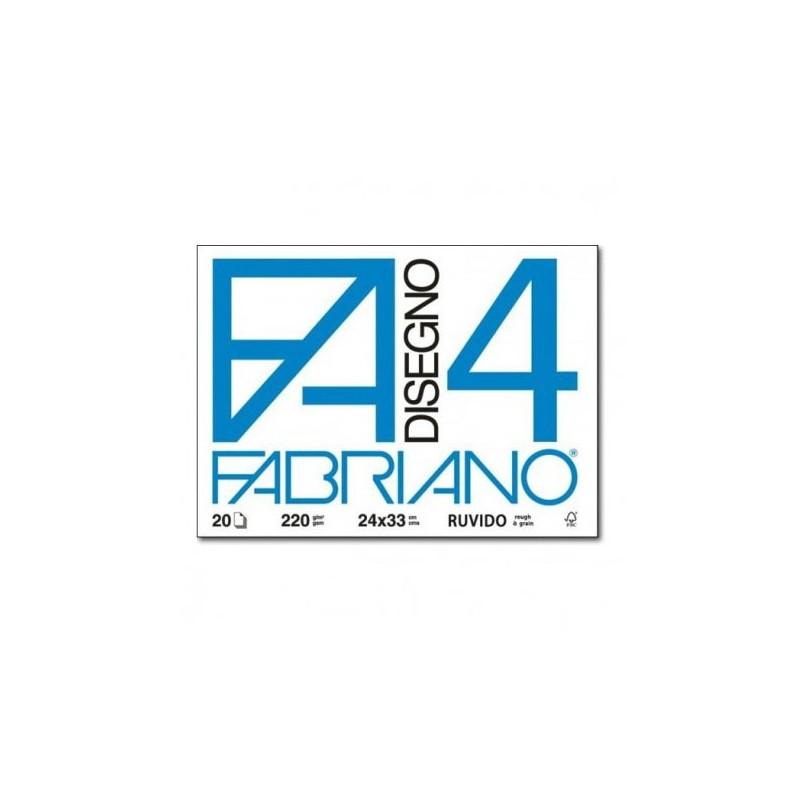 Fabriano Disegno 4 blocco da 20 fogli, misura cm 24x33, ruvidi, 200gr/mq