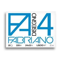 Fabriano Disegno 4 blocco da 20 fogli, misura cm 24x33, lisci, 220gr/mq