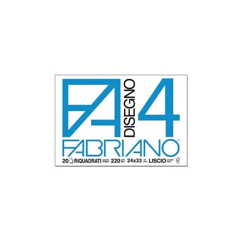 Fabriano Disegno 4 blocco da 20 fogli, misura cm 24x33, lisci e riquadrati, 220gr/mq