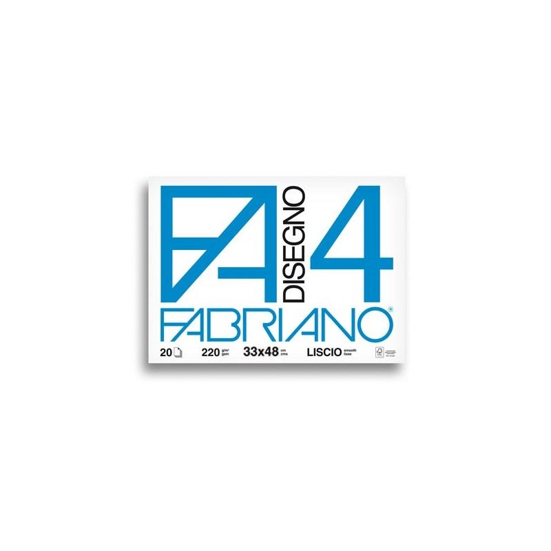 Fabriano Disegno 4 blocco da 20 fogli, misura 33x48, lisci, 220gr/mq