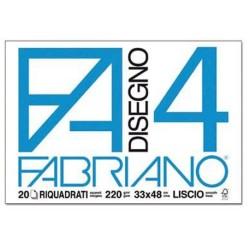 Fabriano Disegno 4 blocco da 20 fogli, misura 33x48, liscio e riquadrati, 220gr/mq