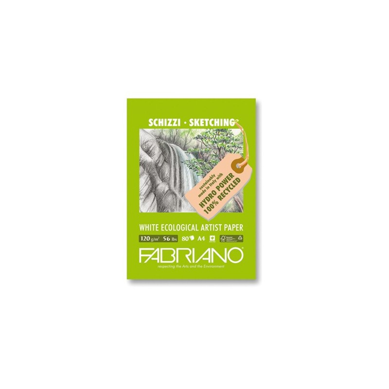 Fabriano Disegno Ecologico per Artisti, blocco 80 fogli, cm 21x29,7, grana naturale, 120 gr/mq