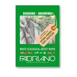 Fabriano Disegno Ecologico per Artisti, blocco 50 fogli, cm 21x29,7, grana naturale, 200 gr/mq