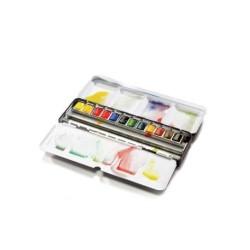 Winsor & Newton scatola metallo Black Box 12 mezzi-godet acq. Professional Artist's, spazio per altri 6 godet o 12 mezzi-godet