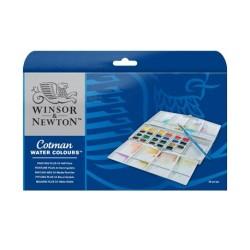 Winsor & Newton scatola plastica Painting Plus 24 mezzi-godet Acquarello Cotman con pennello
