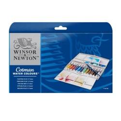 Winsor & Newton scatola plastica Painting Plus 12 tubi da 8ml Acquerello Cotman con pennello