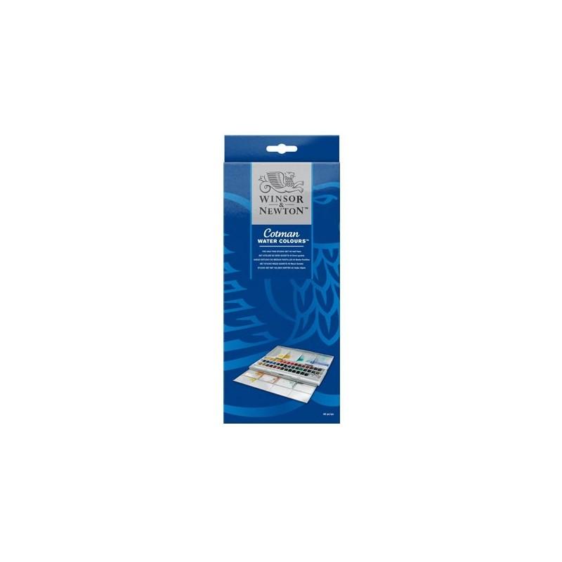 Winsor & Newton scatola plastica Studio, set 45 mezzi-godet Acquerello Cotman