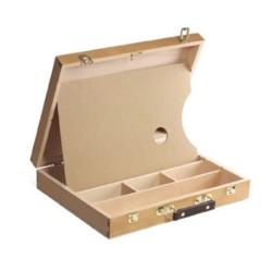 Cassetta Valigetta in legno CM.25X32X7H, con divisori e tavolozza