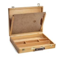 Cassetta Valigetta in legno CM.33X42X8H, con divisori e tavolozza