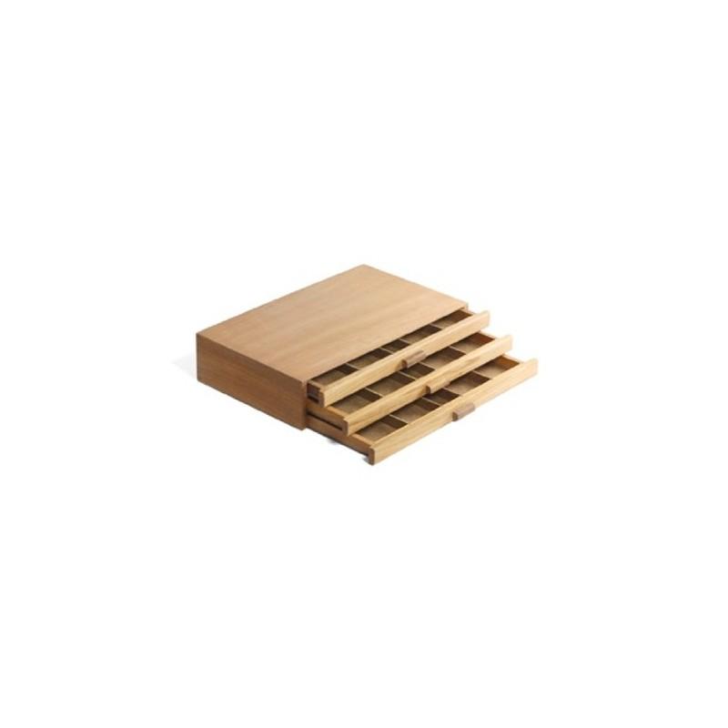 Cassettiera Portagessetti o Portacolori in legno, con 3 cassetti, CM.24X40X8H