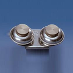 Scodellino doppio in metallo con tappo a vite per tavolozza