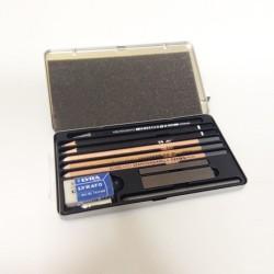 Scatola in metallo matite da disegno Lyra serie Graphite Set, con accessori