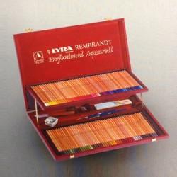 Cassetta in legno Lyra Rembrandt Aquarell CM48X32X4H, 96 pastelli assortiti
