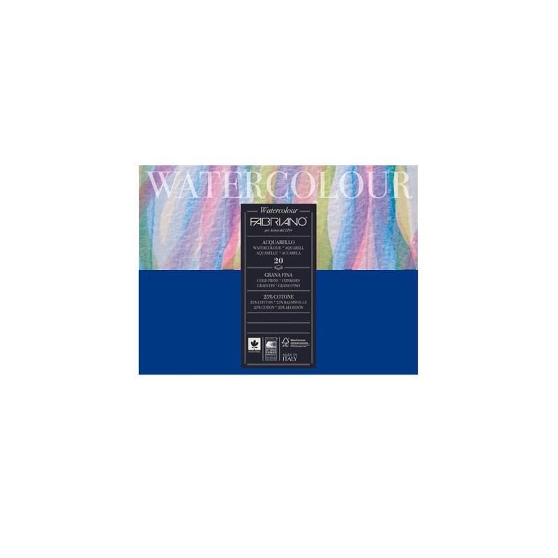 Fabriano Watercolour grana fina, blocco collato 4 lati, 20 fogli, cm 30x40, 300gr/mq
