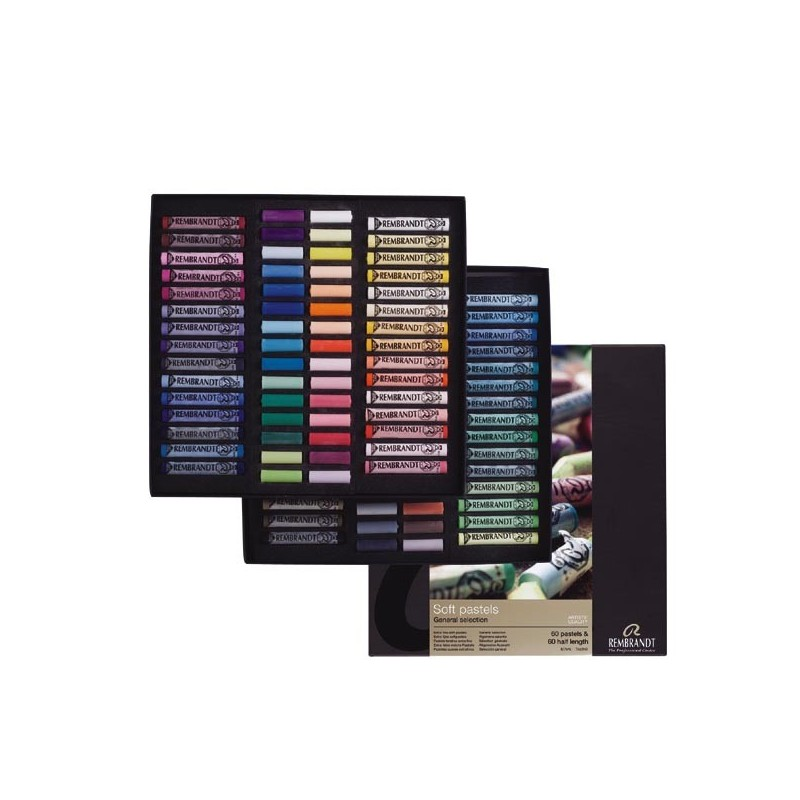 Rembrandt Soft Pastels General Selection Master Set, 60 pastelli soffici e 60 1/2 pastelli soffici
