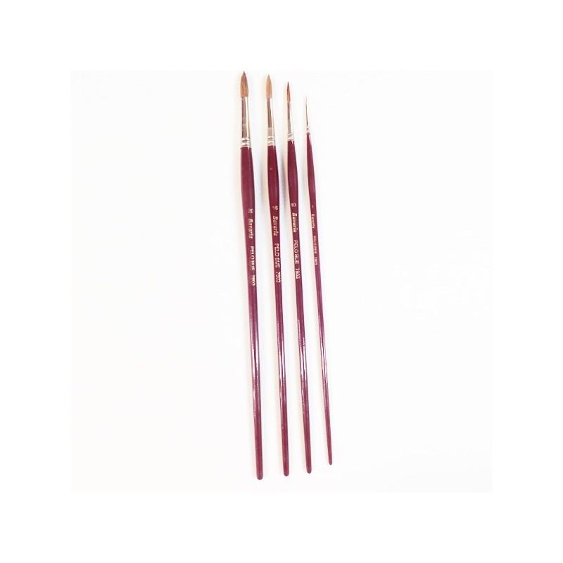 Pennello in pelo di bue Serie n.7803  a punta tonda, manico lungo