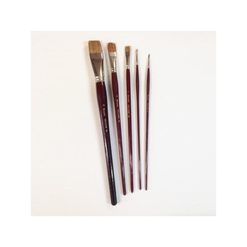 Pennello in pelo di bue Serie n.83  a punta piatta, manico lungo