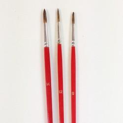 Serie n.12458 pennello in pelo di bue economico a punta tonda, manico lungo