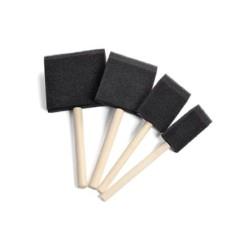 Kit 4 pennelli in spugna da cm. 2,5 - 4 - 6 - 7,5 con manico in legno