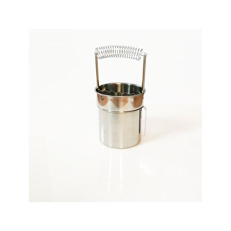 Secchiello lavapennelli estraibile in acciaio INOX, CM.9X11H