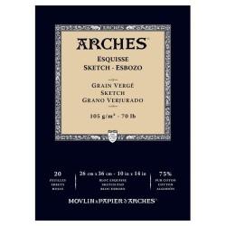 Arches Esquisse Bianco Naturale, blocco collato 1 lato, 20 fogli, cm 26x36, 105gr/mq