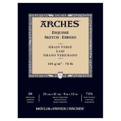 Arches Esquisse Bianco Naturale, blocco collato 1 lato, 20 fogli, cm 23x31, 105gr/mq