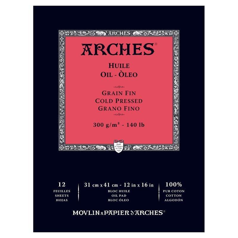 Arches Huile Bianco, blocco collato 1 lato, 12 fogli, cm 31x41, 300gr/mq