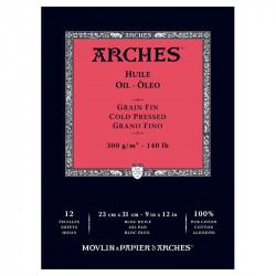 Arches Huile Bianco, blocco collato 1 lato, 12 fogli, cm 23x31, 300gr/mq