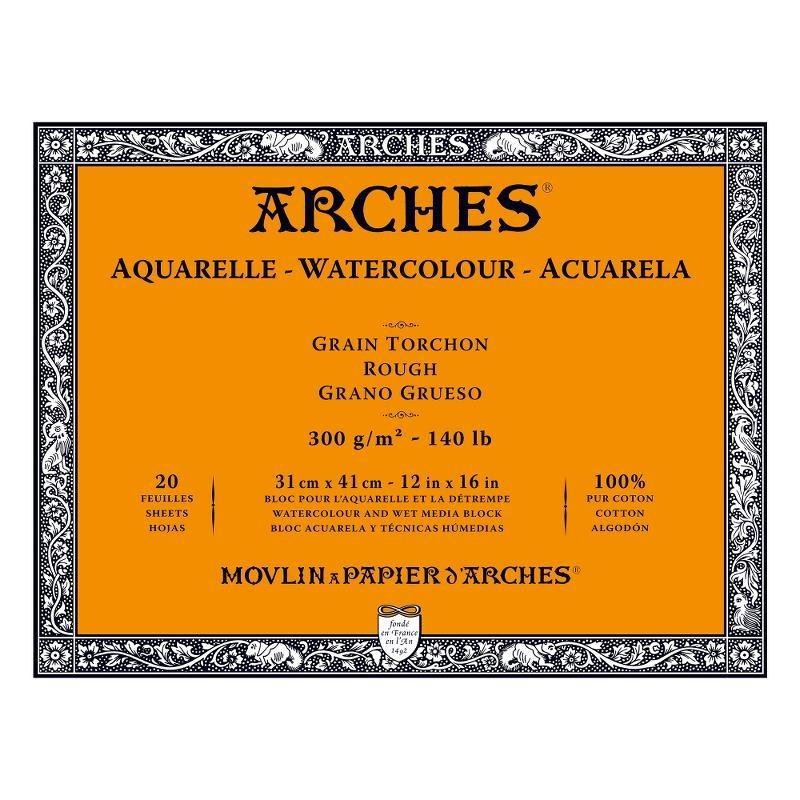 Arches Aquarelle Bianco Naturale, blocco collato 4 lati, 20 fogli, cm 31x41, grana torchon, 300gr/mq