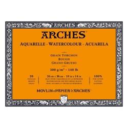 Arches Aquarelle Bianco Naturale, blocco collato 4 lati, 20 fogli, cm 26x36, grana torchon, 300gr/mq