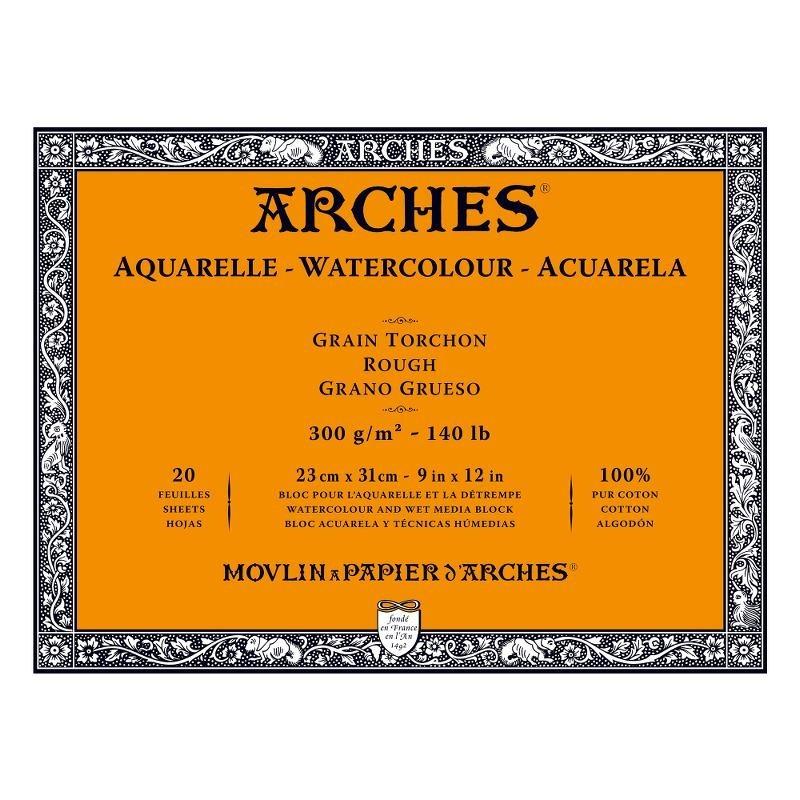 Arches Aquarelle Bianco Naturale, blocco collato 4 lati, 20 fogli, cm 23x31, grana torchon, 300gr/mq