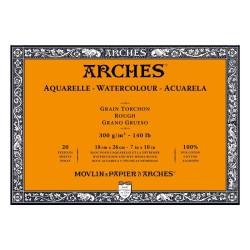 Arches Aquarelle Bianco Naturale, blocco collato 4 lati, 20 fogli, cm 18x26, grana torchon, 300gr/mq